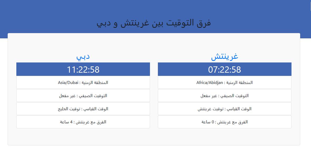 الموقع خدمة فرق التوقيت بين أي مدينتين او دولتين وعرض